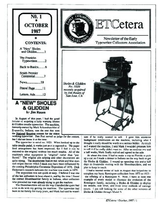 ETCetera No. 1 - October 1987